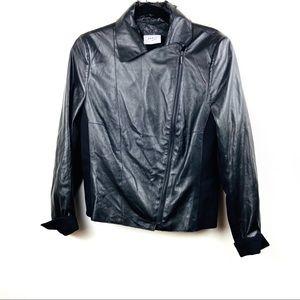 Akris Punto Moto Vegan Leather Jacket size 12